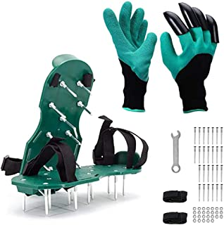 VWMYQ Lawn Aerator Shoes with Straps, Garden Genie Gloves with Claws for Digging Planting, Lawn and Garden Tool Reduces Th...