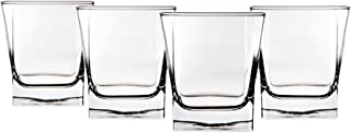 Home Essentials 591 Red Series Square 10 ounce Fashioned Glass, Set of Four