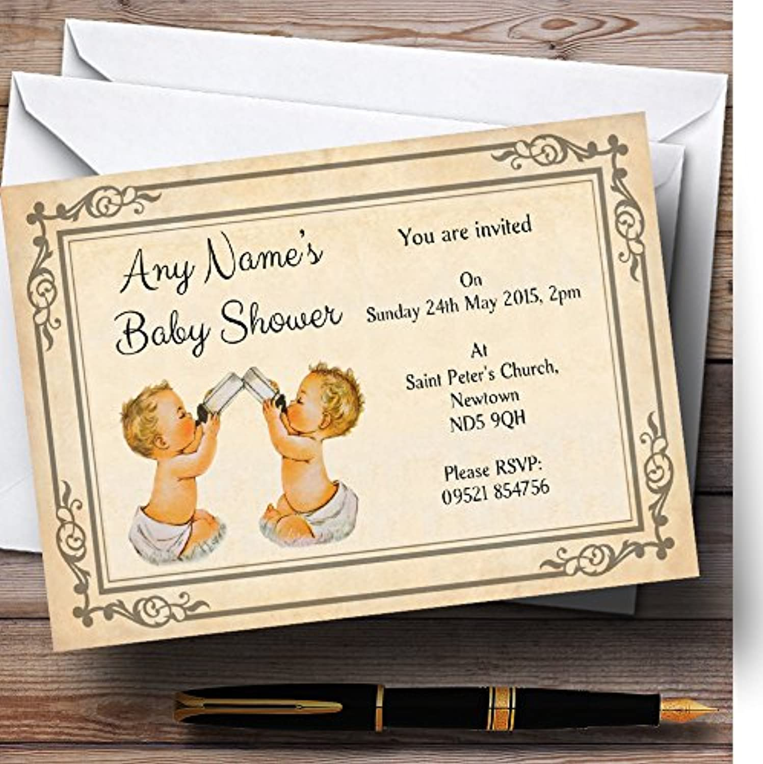 Vintage Twins Baby Shower Personalised Invitations   Invites & Envelopes
