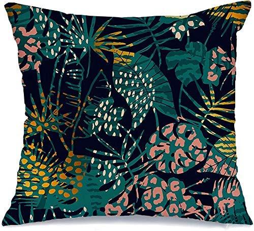 JKSA Funda de Almohada Decorativa Flores Madagascar Selva exótica Patrón de Surf Plantas Tropicales geométricas Océano Tigre Palmera Bosque Cojines de Lino Funda para sofá Cama Sofá Funda de Almohada
