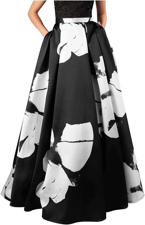 Mllkcao Summer Women Long Maxi Dress Casual Bohemian Floral Print Maxi Skirt High Waist Pocket Cocktial Dress S-2XL