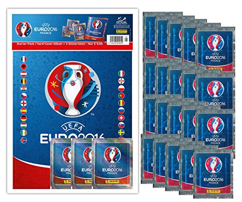 Cult Planet Starter Set:Panini UEFA EM Frankreich 2016 Hardcover Album inkl. 3 Tütchen + 20 Tütchen extra