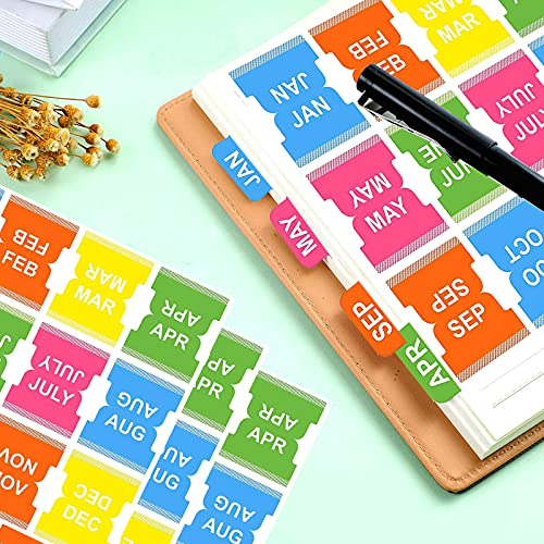 60 Pcs Index Monthly Calendar Stickers - Colorful Monthly Adhesive Tabs Planner Stickers for Journal and Notebook (Colorful)