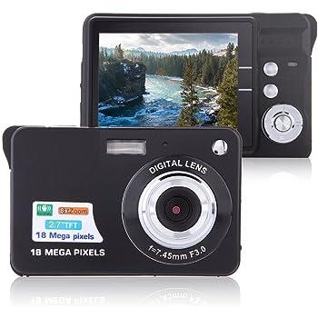 "Digital Camera, Lyyes 2.7"" Mini Camera HD 720P Digital Point Shoot Camera 8X Zoom Camera for Kids and Gifts (Black)"