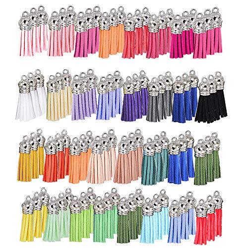 Baaxxango - 100 borlas de llavero, borlas de cuero a granel, borlas de colores con tapas para pendientes, collar, joyería, manualidades