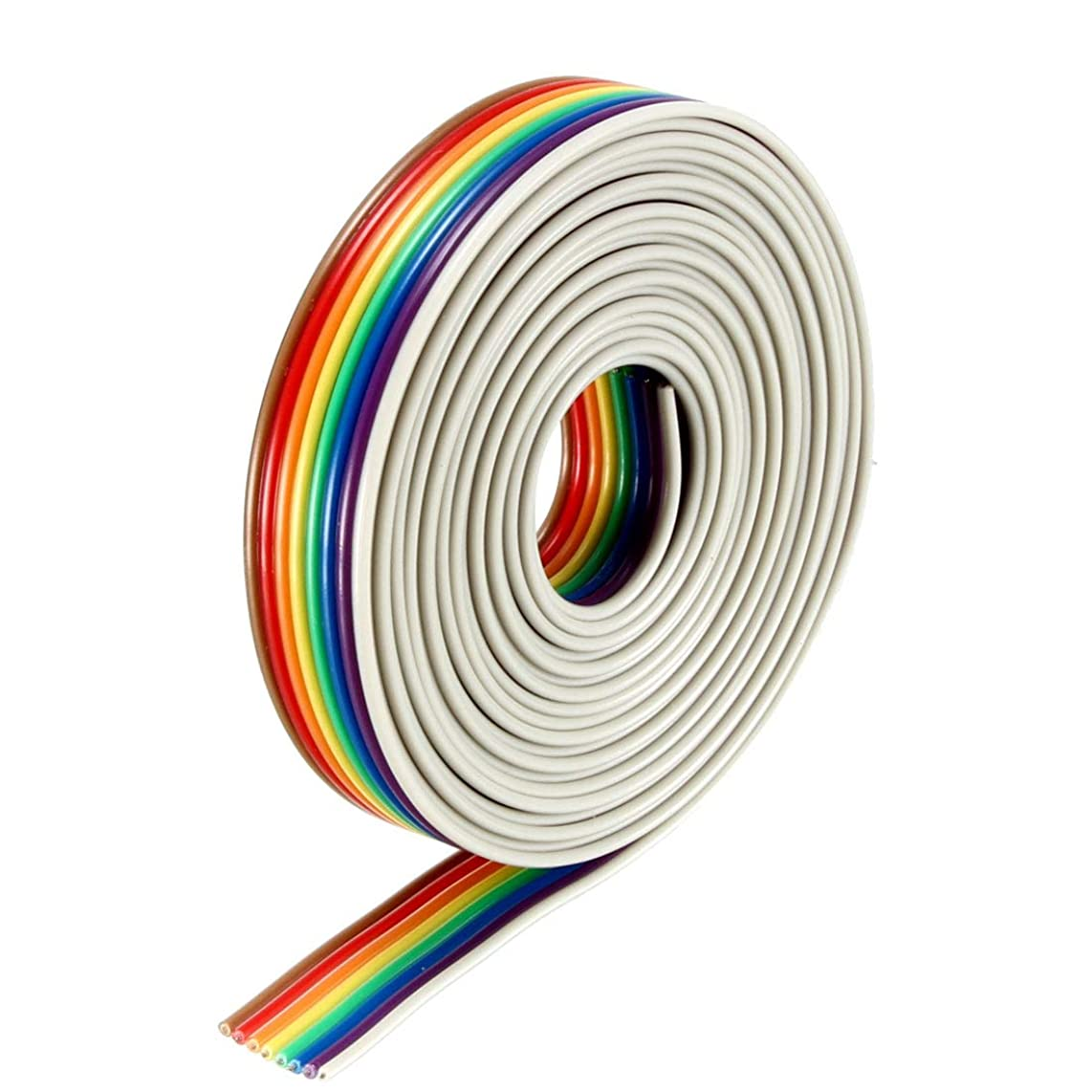 uxcell Flat Ribbon Cable 8P Rainbow IDC Wire 1.27mm Pitch 2m Long