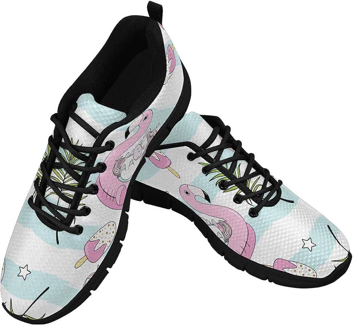 InterestPrint Unicorns on Flamingo Women's Breathable Comfort Mesh Fashion Sneakers