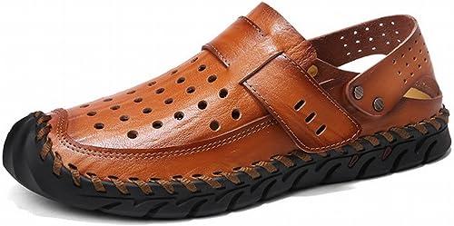 YTTY Sandales en Cuir Sandales en Cuir Tendance Chaussures de Plage Pour Hommes Baotou Sandales de Loisirs Et Des Pantoufles, marron, 39