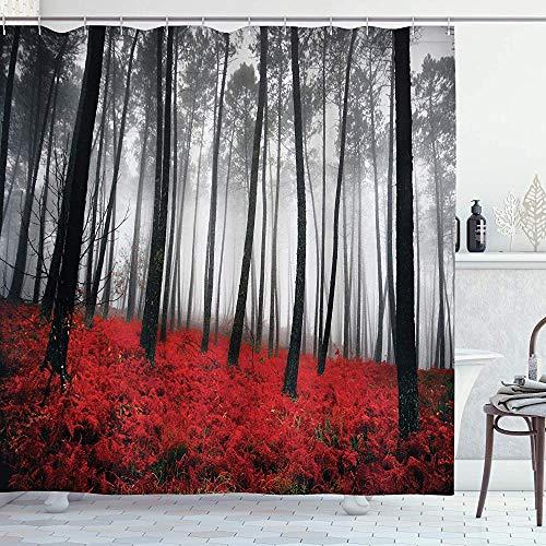 ASDAH Forest douchegordijn mystieke fantasie bos onder zware mist hoge bomen struiken contrastkleuren doek stof badkamer Decor Set met haken rood grijs 66 * 72in