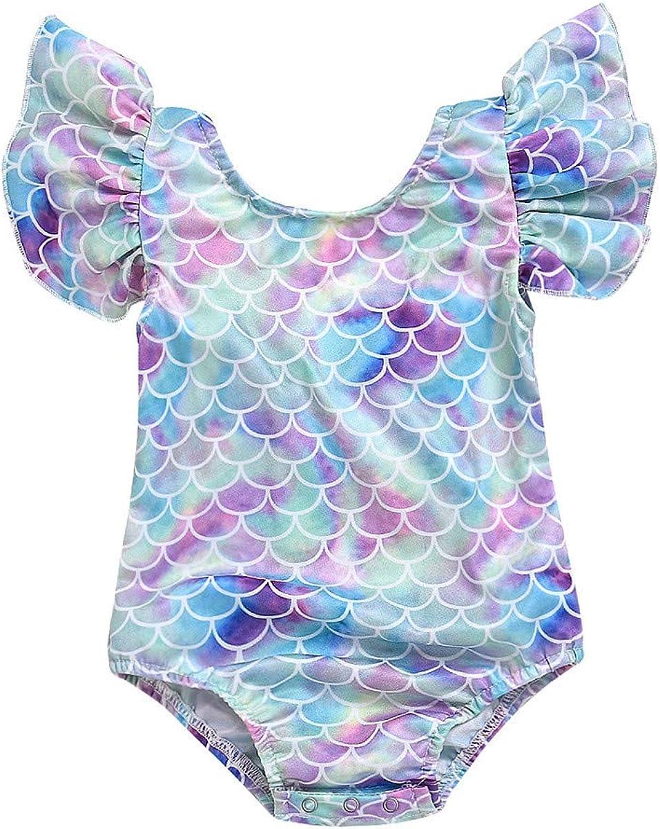 Toddler Girl Baby Ruffles Mermaid Fish Scale Swimsuit One Piece Swimwear Bathing Sunsuit: Clothing, Shoes & Jewelry
