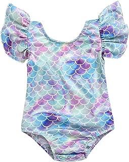 Toddler Girl Baby Ruffles Mermaid Swimsuit One Piece Swimwear Bathing Sunsuit
