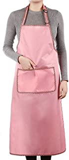 Winsterch Plus Size Chef Apron with Pocket for Women in Stylish Pink Waterproof Resistant 41.3
