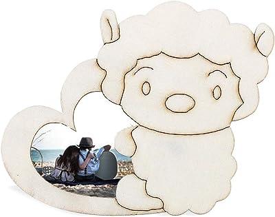 White Base Wood Sheep Picture Frame Hand Kids DIY Animal Wood Photo Frame
