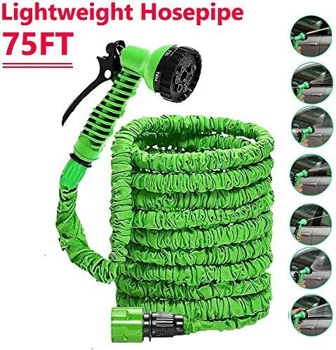 Expandable Tuinslang Buizen Leidingen Waterslangen Expanding Hosepipe Extension Long Lichtgewicht Met Spuitpistool 7-Pattern Nozzle Flexibele Easy To Storage Green MUMUJIN (Size : 15M)
