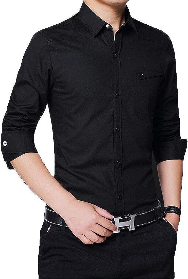 LuckyBov Men Casual Wrinkle Free Button Down Shirt Spread Collar Long Sleeve Shirt
