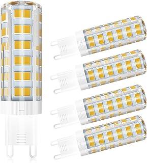5 Pack LCLEBM G9 LED Bulbs, 60W G9 LED Light Bulbs, 550LM white 4500K, AC 110V 120V 5W G9 ceramic base, 360-degree beam an...