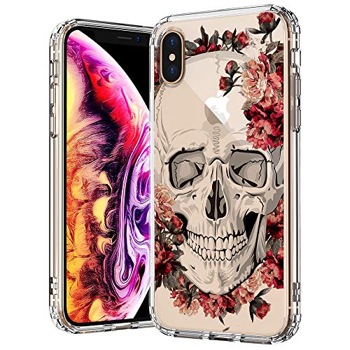 MOSNOVO Skull iPhone Xs MAX Case, Cool Floral Skull Flower Pattern Printed Clear Design Transparent Plastic Back Case with TPU Bumper Protective Case Cover for iPhone Xs MAX