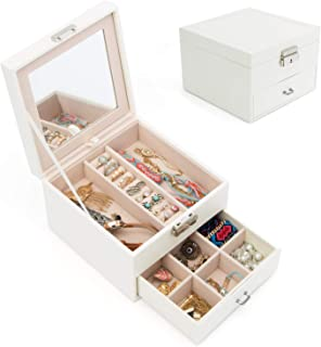 Jewelry Organizer Box for Women Girls Two-Layers Jewelry Display Storage Case with Large Mirror (Two-Layers, White)