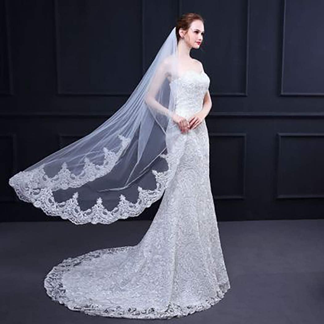 Fairyu Wedding Bridal Veil Short Lace Bridal Tulle Veils 1 Tier Length 59
