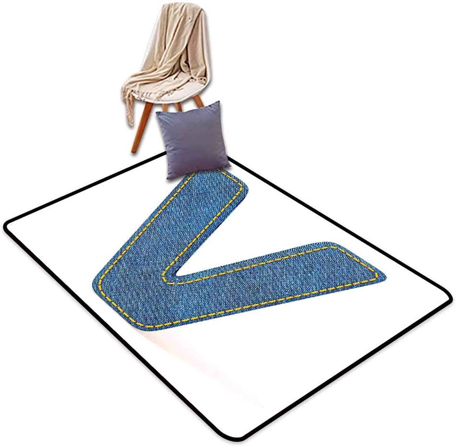 Indoor Super Absorbs Mud Doormat Letter V Clothing Fashion Style Theme with Majuscule V Alphabet Symbol Modern Collection W6'xL7' Suitable for Family