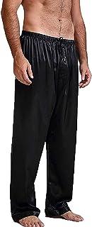 Men's Satin Pajama Pants Sleep Soft Long Classic Pajama Bottoms Solid Lounging Pants Trousers