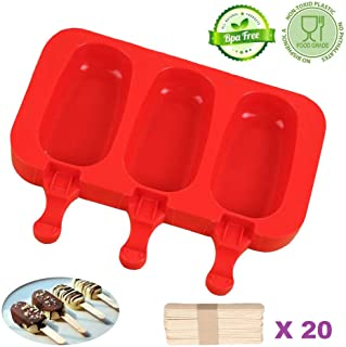 BUSOHA Homemade Popsicle Silicone Molds with Lid, BPA Free Cakesicles Mold, 3 Cavities Ice Cream Mold Ice Pop Mold with 20 Wooden Sticks (Oval)