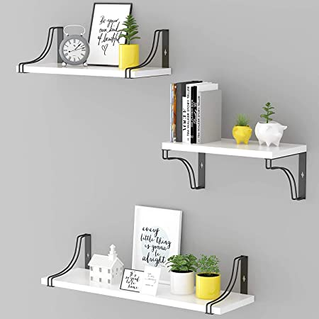 Glorieux Art White Floating Wall Mounted Shelves Set of 3 Wall Decoration Home Decor Item for Bedroom, Living Room, Kitchen and Office
