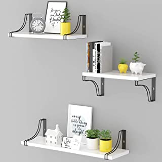 Glorieux Art White Floating Wall Mounted Shelves Set of 3 Wall Decoration Home Decor Item for Bedroom, Living Room, Kitche...