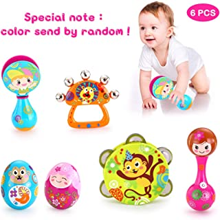 VATOS Musical Instruments for Kids Toddlers,Musical Infant Baby Toy, 6PCS Baby Drum Rattle Maracas Castanets Egg Shaker,Toddler Musical Toys Sets, Toys for 3, 6, 9, 12 Month Newborn Infants Baby Kids