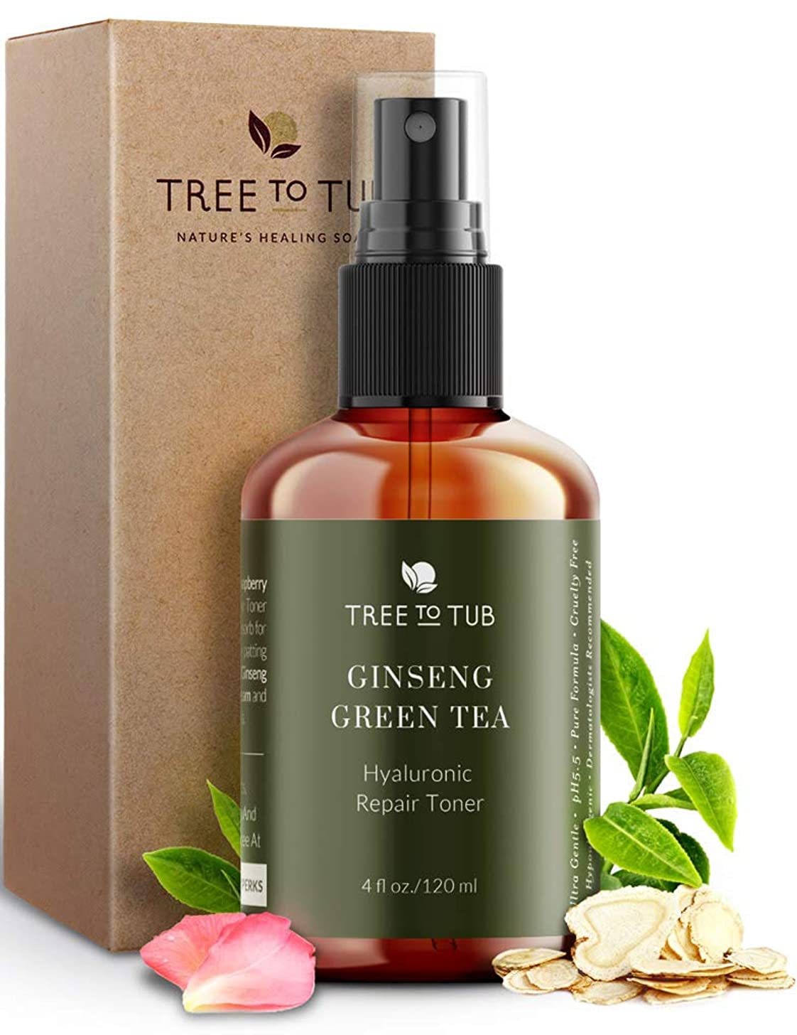 Deep Calming Toner Spray for Sensitive Skin by Tree To Tub | pH 5.5 Balanced & Hypoallergenic | Face Priming & Hydrating with Hyaluronic Acid, Organic Witch Hazel, Rose Water, Ginseng, Green Tea, 4 oz