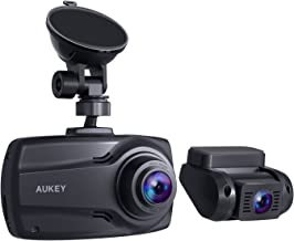 AUKEY Doppia Dash Cam da 1080 p con Schermo da 2,7'', Videocamera Full HD Frontale e Posteriore, Obiettivo Grandangolare da 170° per 6 Corsie di Traffico, G-sensor e Caricatore per Auto a due Porte
