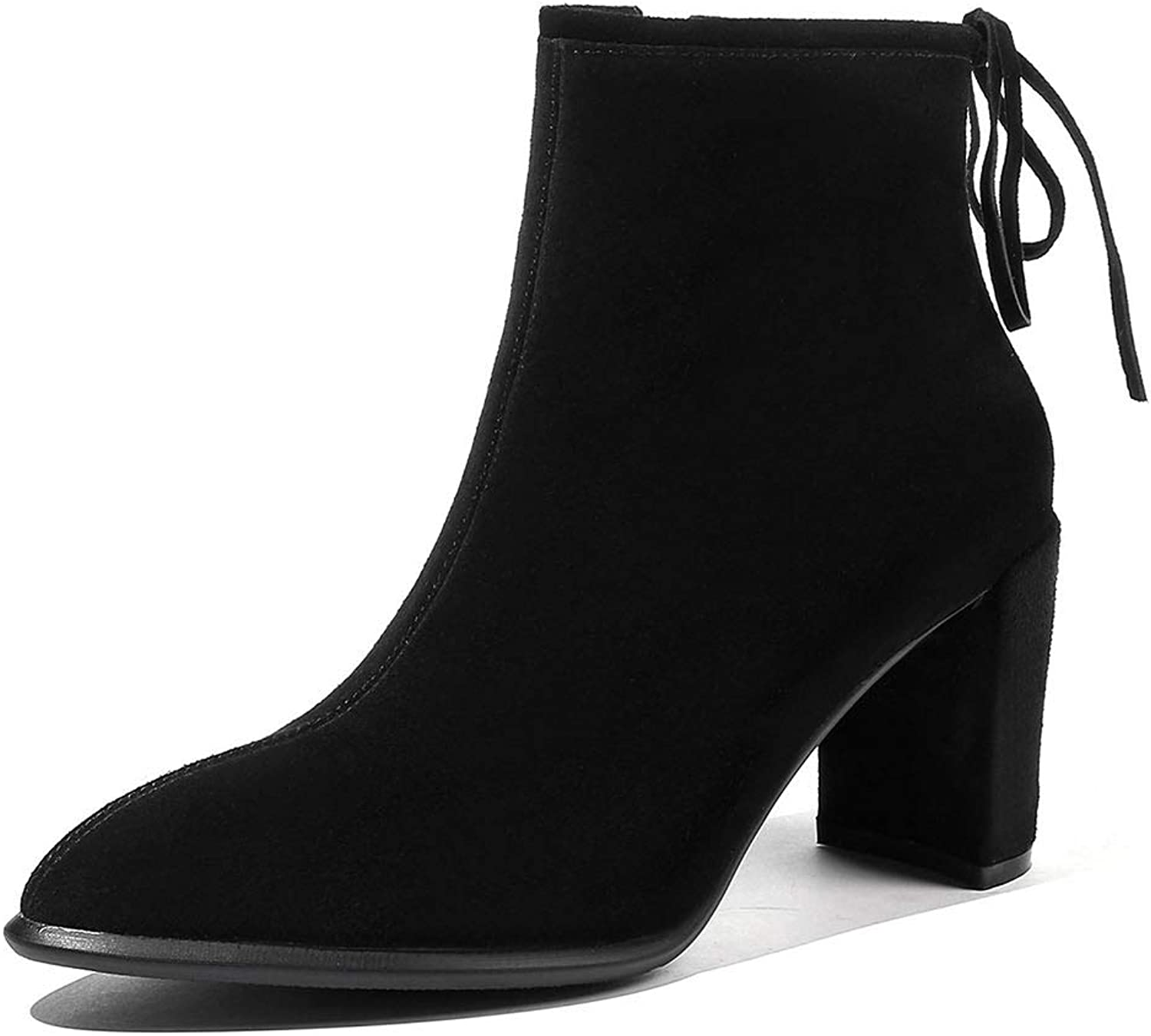 Women's Booties, Fall Winter Thick Heel High Heel Martin Boots Ladies Non Slip Wear- Resistant Fashion Ankle Boots (color   A, Size   39)