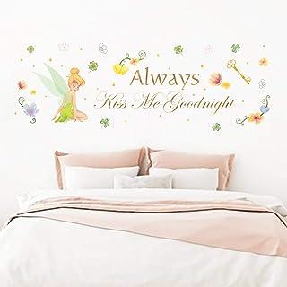 Runtoo Pegatinas de Pared Flores Hada Stickers Adhesivos Vinilo Frases Always Kiss Me Goodnight Decorativas Dormitorio Hab...