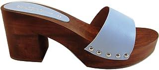 Zoccolo Donna - in Vero Legno -Vera Pelle-SilferShoes - Made in Italy - Colore Tiffany-Colore Celeste