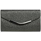 Caspar TA370 Bolso de Mano Fiesta Elegante para Mujer Clutch Brillo, Color:gris oscuro, Talla:Talla Única