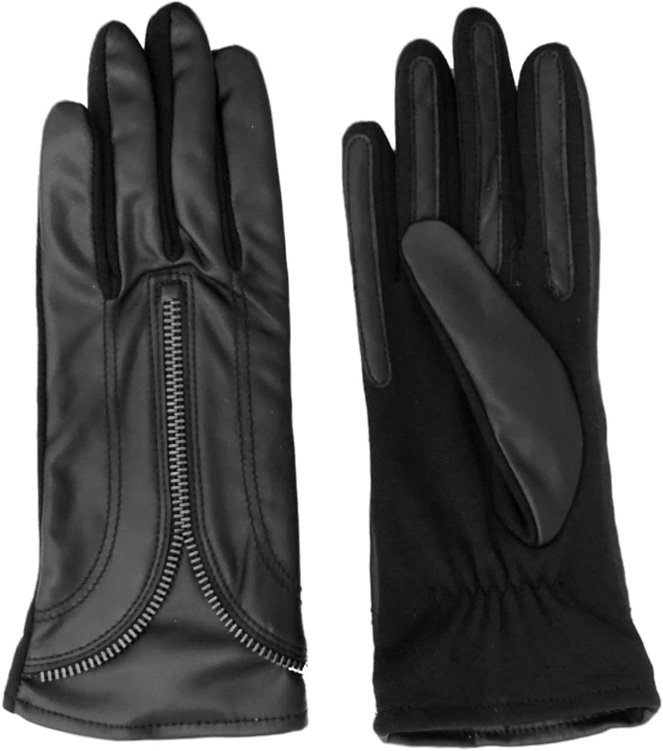 Fownes Womens Black Stretch Fit Leather Look Zipper Driving Gloves