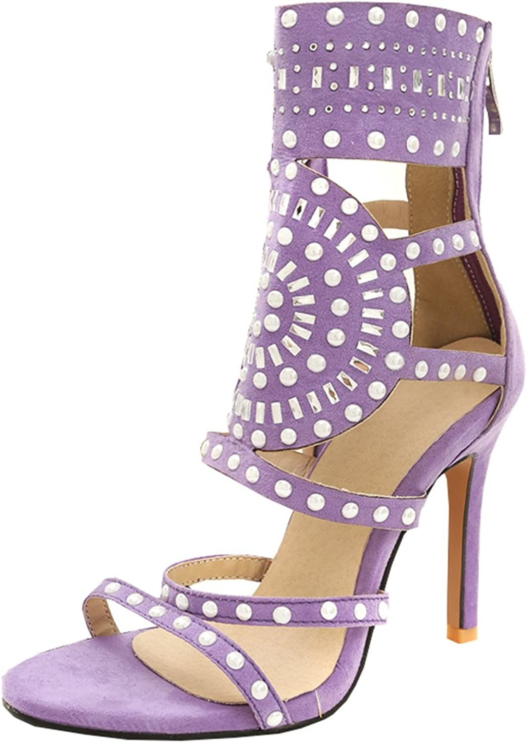Artfaerie Women's Stiletto High Heels Summer Boots Open Toe Ankle Strap Sandals with Rhinestones