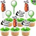 Blulu 48 Pieces Golf Cupcake Toppers Golf Cupcake Picks Golf Themed Cupcake Decorations Golf Shoes Bag and Ball Cupcake Toppers Decoration for Baby Shower Birthday Party Supplies
