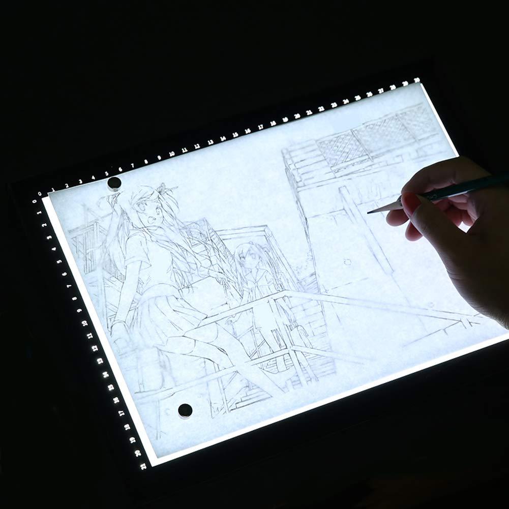 XCXDX Caja De Luz con Escala Iluminada, Tablero De Copia LED con Estante, Almohadilla De Luz De Seguimiento De Atenuación Alimentada por USB, Almohadilla De Dibujo para Anime De Dibujos Animados A2: