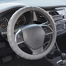 """BDK غطاء لمقود السيارة من الجلد الأصلي 13. 5""""/-36.83سم (مقاس صغير باللون الأسود), Large (15.5-16.5), Gray"""