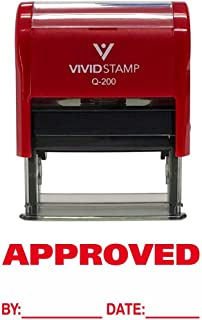 APPROVED w/By Date Line Self-Inking Office Rubber Stamp (Red) - M