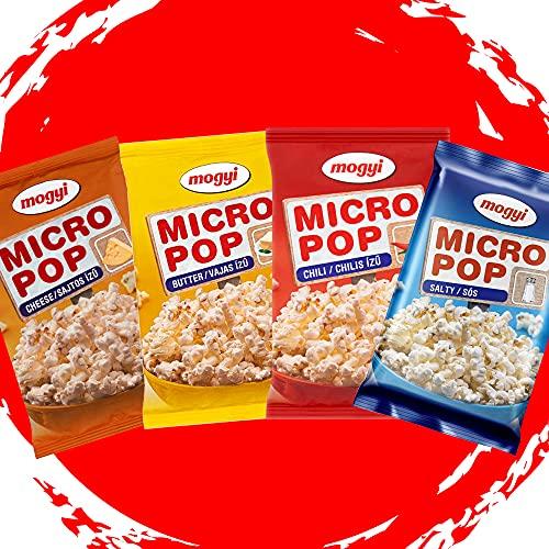 Mogyi Mikrowellen Popcorn Kennenlernen Pack 4x100g   Popcorn Mais fix und fertig - wie im Kino   Micro Popcorn einfach lecker - Naschen erwünscht   Party Pack