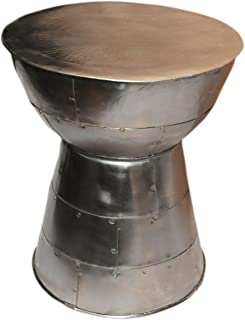 Silvered Metal Accent Table Cairo with Mushroom top. Bands of Metal Welded Together in Unique Fashion. Coated Finish. Lightweight and Sturdy with 20