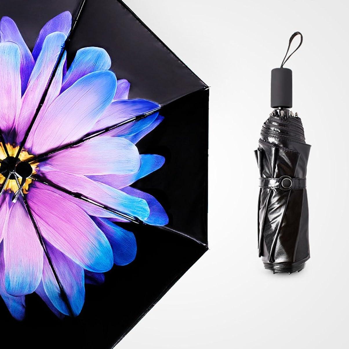 ストリップ精査ガラス日傘傘女性の日焼け止めビニール抗UV傘50%オフ超軽量ミニ黒傘デュアルユース ズトイビー (Color : #1)
