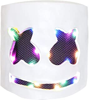 DJ Mask, Music Festival Helmets, Full Head Masks Halloween Party Props Costume Masks White (LED Light up)