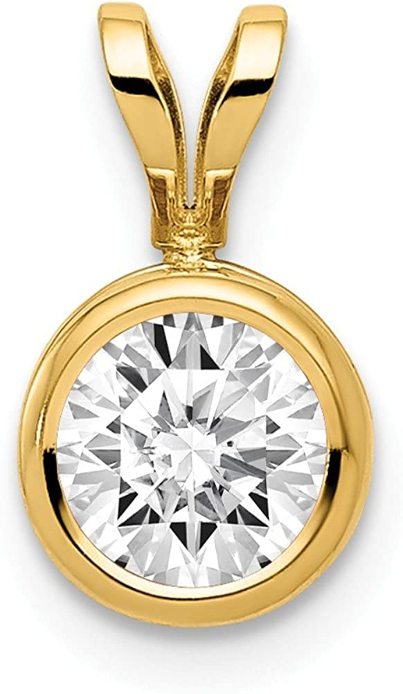 14k Yellow Gold 6mm Cubic Zirconia Bezel Pendant Charm Necklace Gemstone Fine Jewelry For Women Gifts For Her