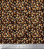 Soimoi Nero Raion Tessuto caffè, Croissant e salatini Cibo Tessuto Stampato dal Metro 56 Pollici Larghi