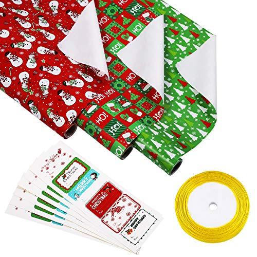STOBOK - Set di 3 rotoli di carta regalo natalizia, reversibile, con 36 etichette adesive e 1 nastro