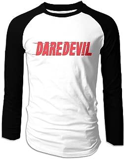Creamfly Mens Daredevil Letter Long Sleeve Raglan Baseball Tshirt