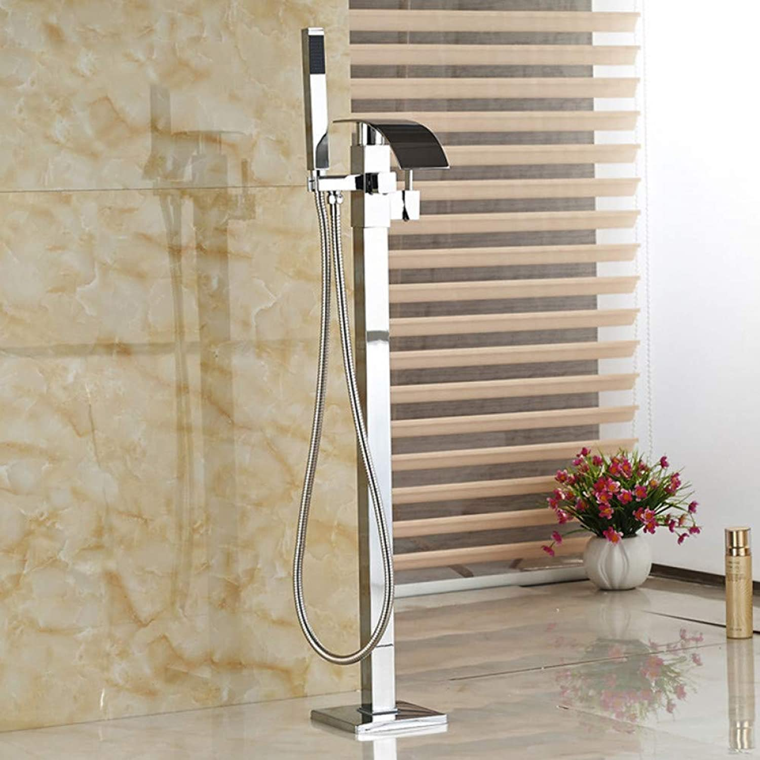 HUASAA Electroplated Bathtub Mixer Free standing Clawfoot Bath Tub Filler Faucet Floor mounted Waterfall Spout